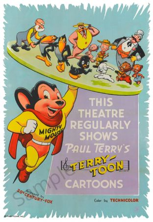 Mighty Mouse Retro Cartoon Poster